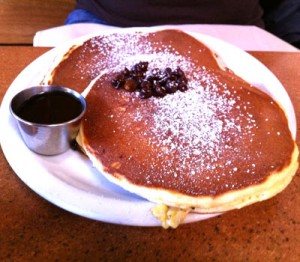 Chocolate chip and banana pancakes at Gravy restaurant in Portland, OR