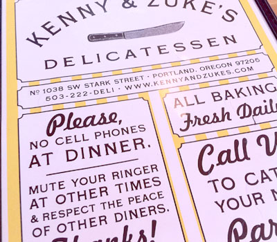 Kenny and Zuke's Delicatessen Menu in Portland, Oregon