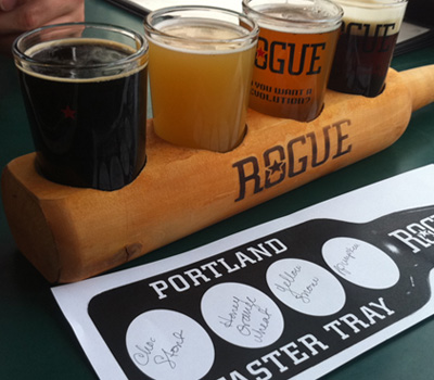 The first random flight at Rogue Distillery and Public House in Portland, OR