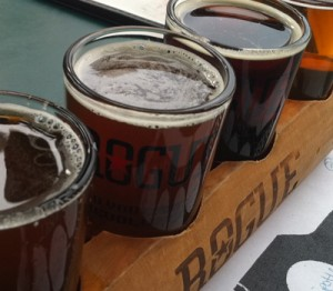 A closeup of a random flight at Rogue Distillery and Ale House in Portland, OR