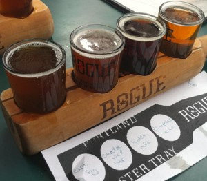 The second random flight at Rogue Distillery and Ale House in Portland, OR