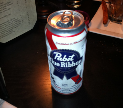 Pabst Blue Ribbon beer at Casa Naranja in Portland, Oregon