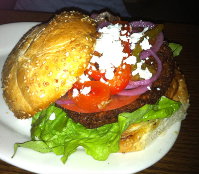Roasted Zucchini and Garbanzo Bean Burger at the Hilt Bar in Portland, OR