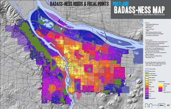 Map of Portland Neighborhoods Badassery Index
