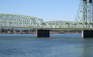 The I-5 bridge crossing the Columbia River