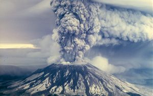 St. Helens, one of Portland's nearby volcanoes, erupting